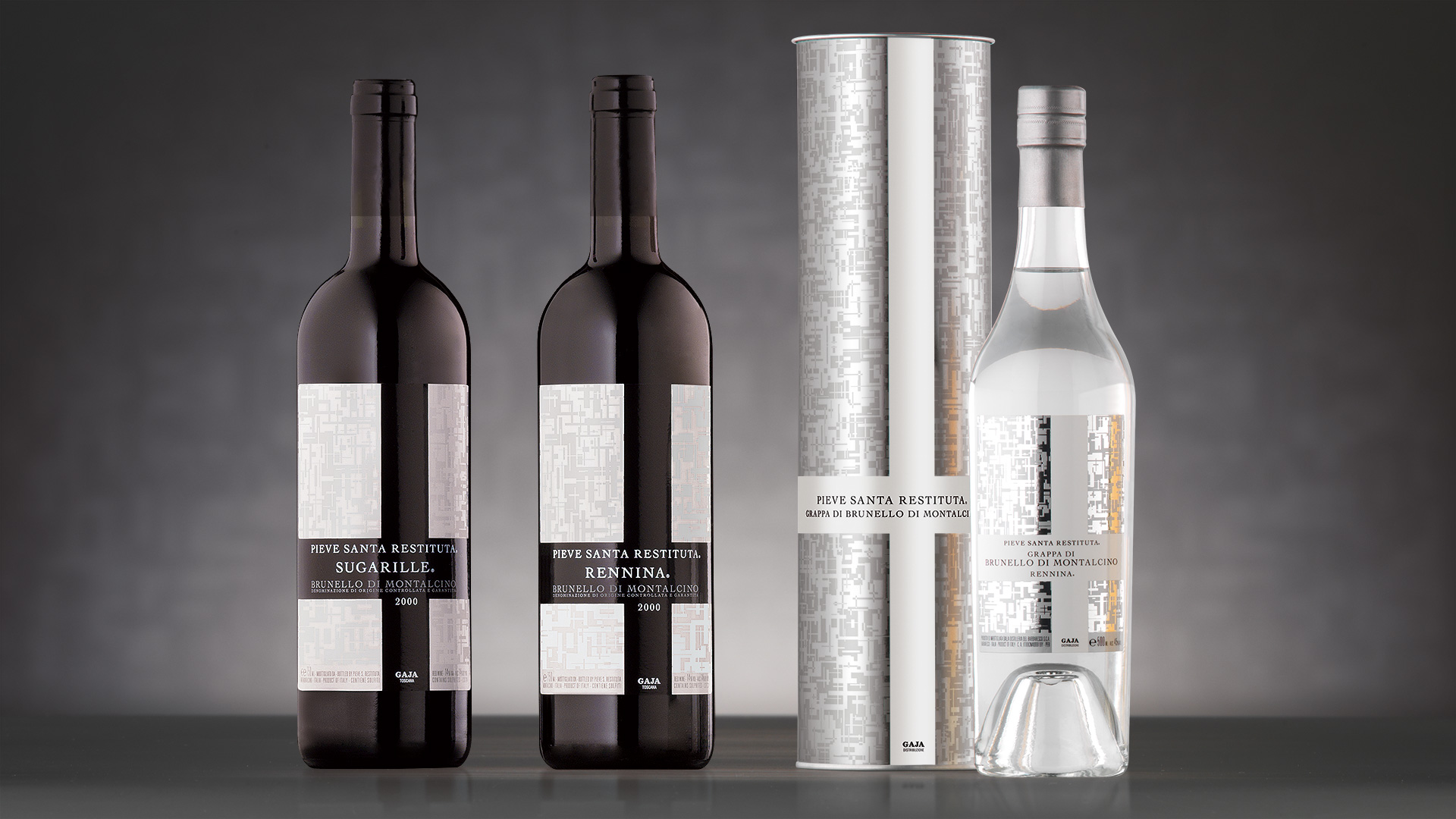 Gaja Santa Restituta vino grappa packaging