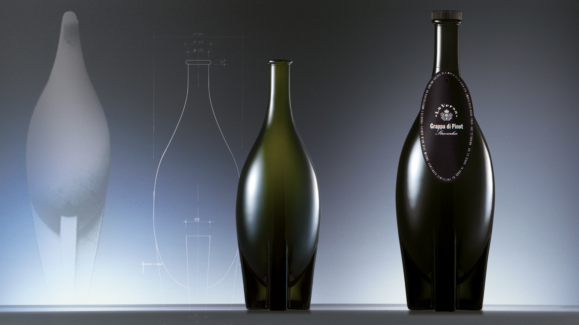 La Versa grappa bottle design