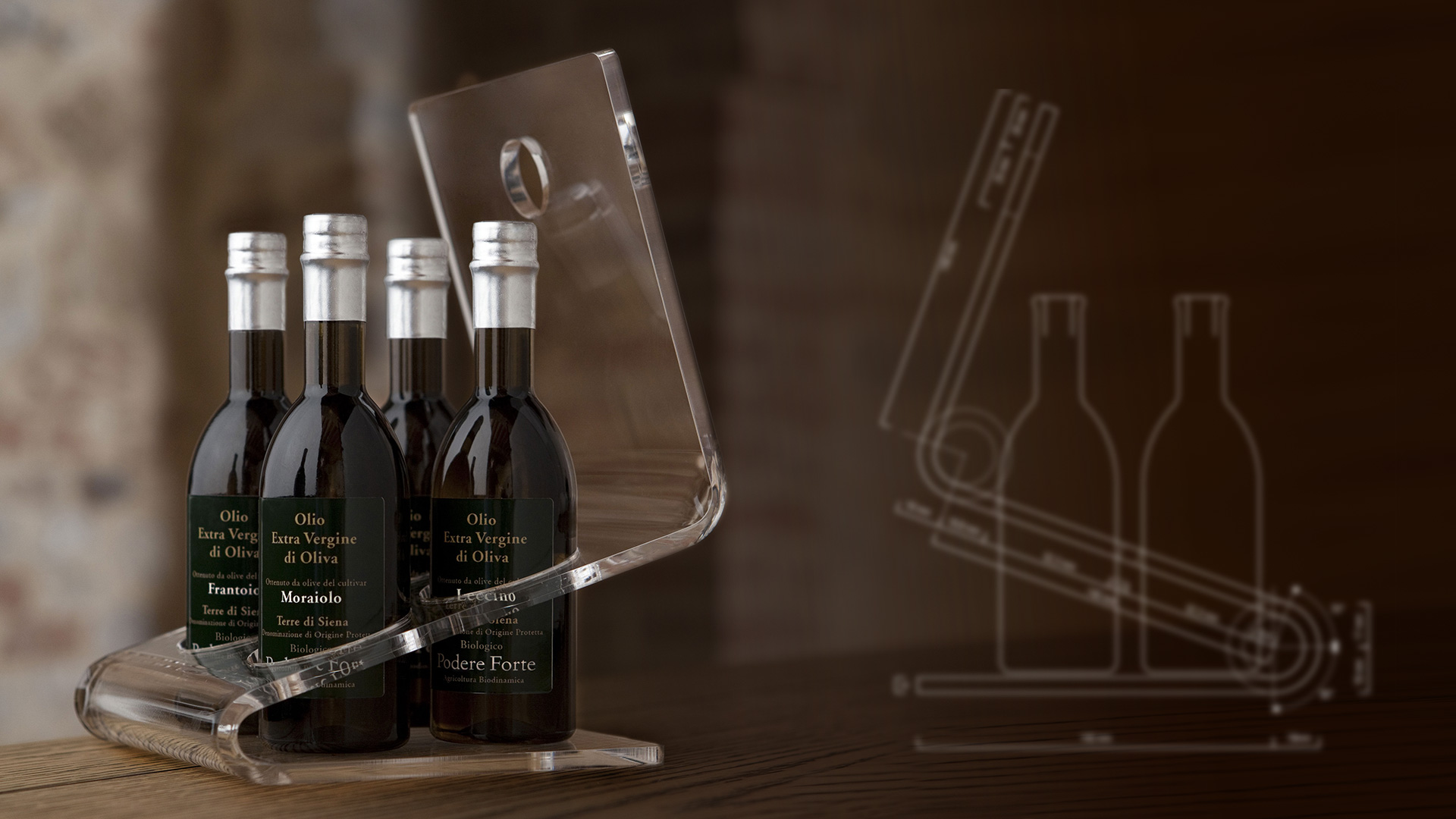 Podere Forte olio espositore packaging