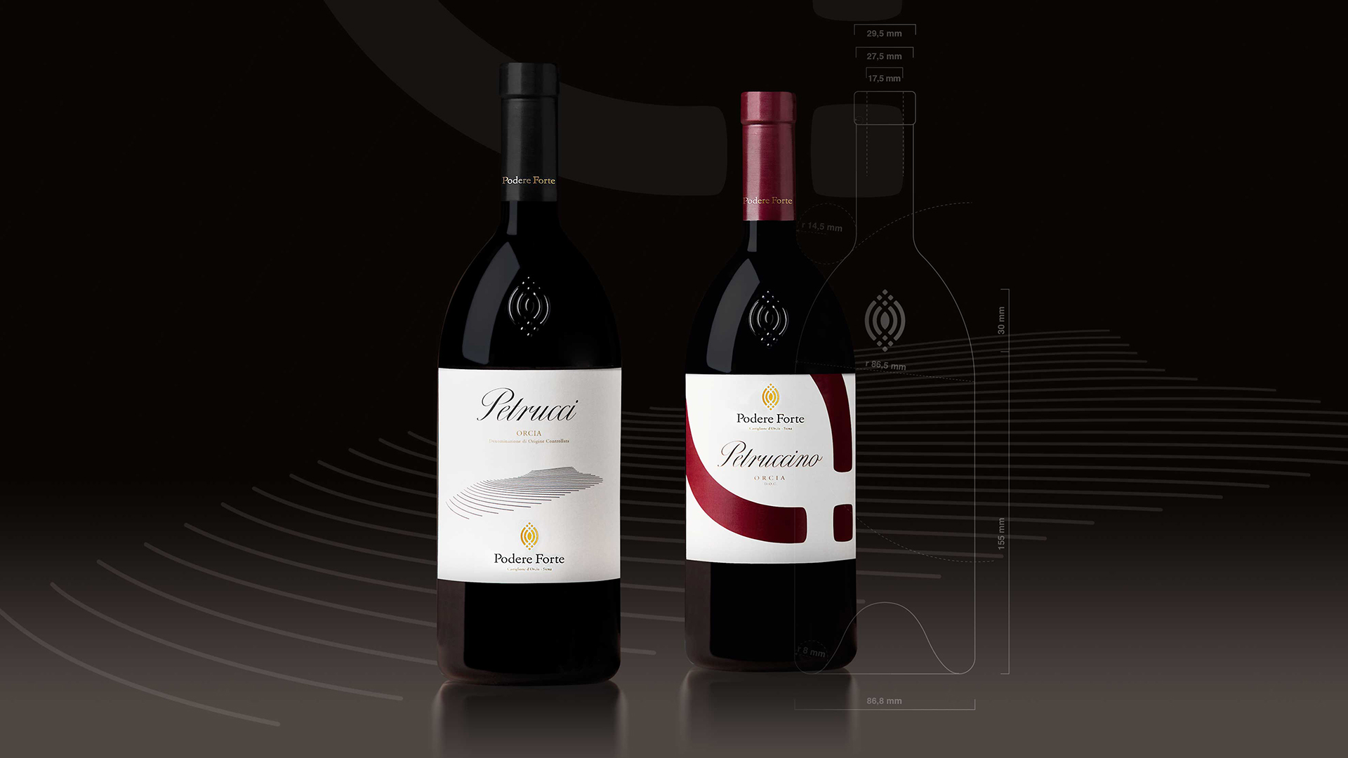Podere Forte vino packaging